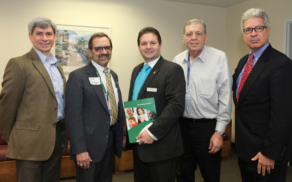 (left to right) Alan S. Golub  joined NewBridge CEO Robert Parker, Robert J. Peluso, the Council Vice President of the Twp. of Parsippany Troy Hills,  Frank Cahill, of the Parsippany Area Chamber of Commerce, and Tom Williams, of the Parsippany Economic Development Committee, as the staff of NewBridge welcomed local business leaders, government leaders and members of the public to the grand opening of NewBridge Parsippany Center. The 15,320 square-foot-center provides mental health counseling, educational services, addiction treatment and wellness programs for the community.