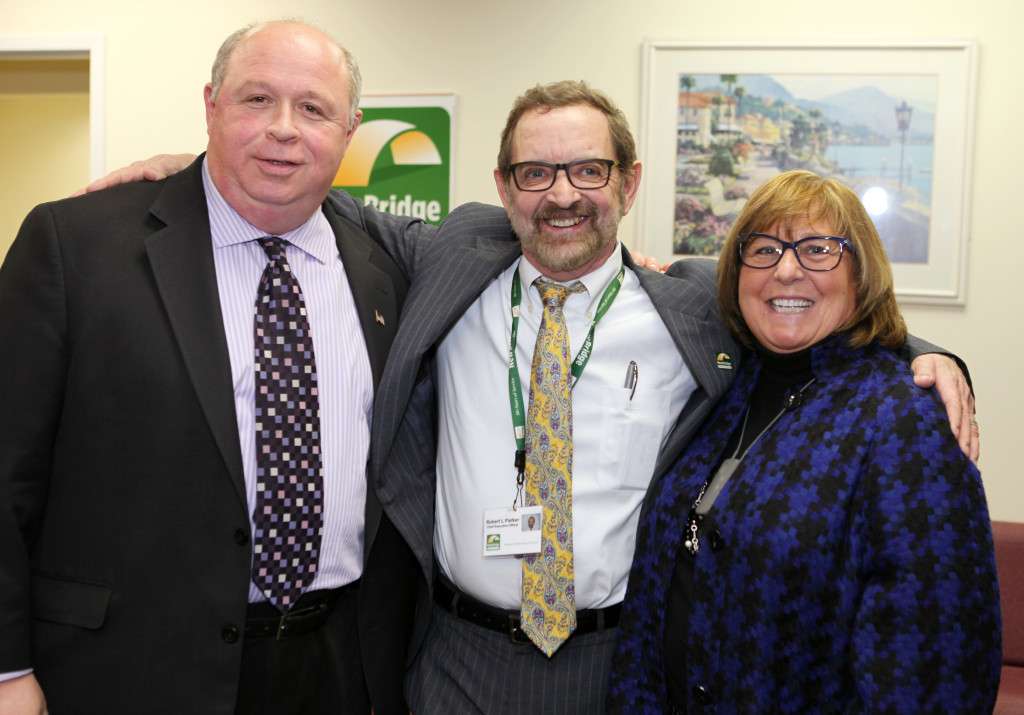 (left to right) Parsippany Mayor James R. Barberio, NewBridge CEO Robert Parker and Freeholder Director Kathy DeFillippo. The staff of NewBridge welcomed local business leaders, government leaders and members of the public to the grand opening of NewBridge Parsippany Center. The 15,320 square-foot-center provides mental health counseling, educational services, addiction treatment and wellness programs for the community.