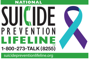 Logo of the National Suicide Prevention Lifeline with ribbon