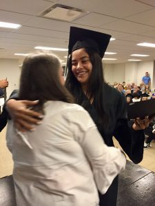 NewBridge Jobs Plus graduate gets a hug.