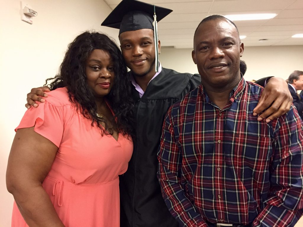 NewBridge Jobs Plus graduate Jaquan Eke with proud parents, Elisa and Osaze Eke.