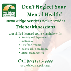 NewBridge is now providing Telehealth sessions. Call 973-316-9333 to schedule an appointment