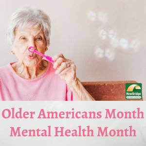 Older woman blowing bubbles. May is Older Americans Month and Mental Health Month.